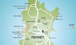 Пляжи Пхукета на карте, а также близлежащего курорта
