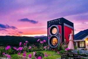 Кафе, похожее на гигантскую винтажную камеру в Южной Корее